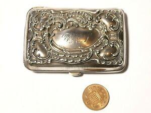 1889 GORHAM America Sterling Silver Cigarette / Card Case Engraved BAT Initials