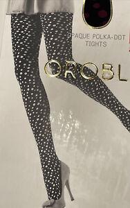 NEW  Oroblu Opaque Polka Dot Tights 50 Lucilla Black Size S
