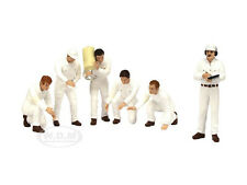 F1 PIT CREW FIGURINES CLASSIC STYLE WHITE SET OF 6PC 1/18 BY TSM 10AC07