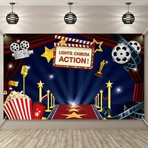 Hollywood Movie Theme Party Decorations Supplies Large Fabric Hollywood Backd...