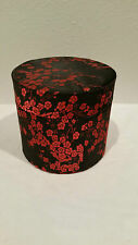 CHINESE BROCADE ROUND CONTAINER/TRINKET BOX - DRESSER ACCESSORIES PLUM FLOWER