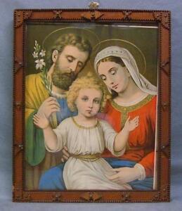 Gorgeous Antique Tramp Art Frame with Religious Print WOW