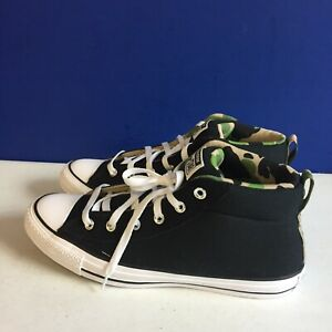 Converse CTAS Street Mid Sneakers 166977F Black/White/Camo Men's 10 Women's 12