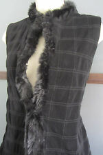 Chicos Travelers  Quilted Vest Faux Fur Trim Black Lined Womens Size 2 14 16