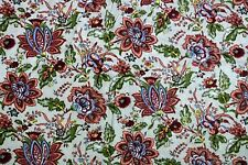 Indian Natural Flora lPrint Handmade Cotton Sanganeri Print Fabric By The Yard
