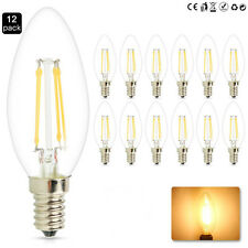 12 PACK 4W E12 Candelabra Retro LED Filament Candle Bulb Warm White Dimmable C35