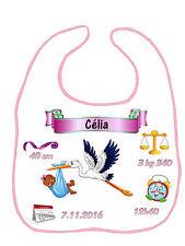 Bavoir bébé fille cigogne qui annonce bébé réf F19 personnalisé avec prénom