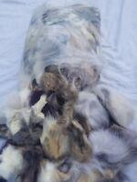 Huge Bag Lot Real Fur Big Eskimo Pieces Mixed Nice Crafts Set Alaska