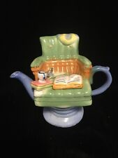 "Vintage Reading Chair Teapot Perfect Bookworm Gift or Collectible 6"" T x 7"" W"