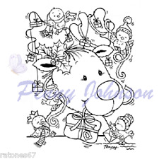 New Stampavie DECORATING RUDOLPH Clear Stamp Reindeer Holiday Presents Christmas