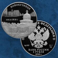 Russland - 400 Jahre Foundation of Novokuznetsk - 3 Rubel 2018 PP Silber