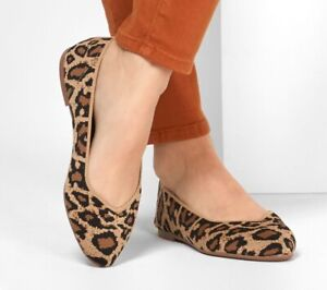 Skechers Cleo Ballerina Slip On Shoes Lofers Animal Print Leopard UK Size 5