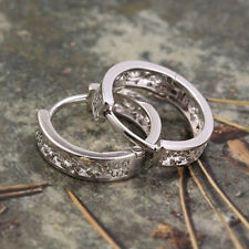 Korean jewelry White Gold Plated Openwork Cute Womens small Ear Hoop Earrings