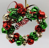 "Christmas Tree Metal Silver Red Green JINGLE BELL Wreath Christmas 4"" Ornament"