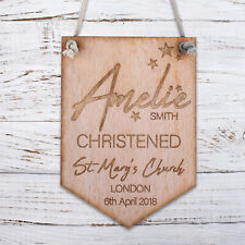 Personalised Wooden Door Signs Christening Shabby Chic Hanging Plaques Kids Room