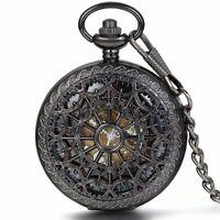 Retro Openwork Spinnennetz Handaufzug Mechanische Taschenuhr Skelett Uhr Schwarz