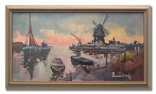 BERNSTORFF / PORT WITH WINDMILL - Original Art Oil Painting