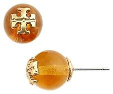 Tory Burch 'Evie' Amber Crystal Pearl Gold Logo Stud Earrings - $75