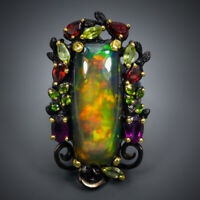Recommend AAA+ 16ct  Natural Black Opal 925 Sterling Silver Ring Size 7.5/R69813