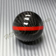 Real Carbon Fiber Ball Manual MT Gear Shift Shifter Knob W/Red Stripe Universal