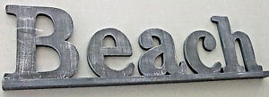 """22"""" Blue & Metallic Silver """"BEACH"""" Block Letters ANTIQUE-STYLE Painted WOOD SIGN"""