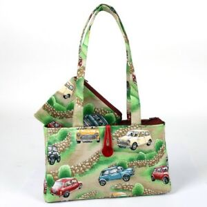 Hergest Cotton Green Zip Up Handbag And Purse Combo with Classic Mini Design