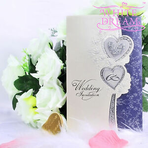 Personalised Hearts & Rings Wedding Invitations Day/Eve Embossed FREE ENVELOPES
