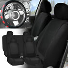 Car Seat Covers Solid Black Full Set for Auto w/Red Leather Steering Wheel