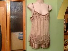 BNWT BEAUTFUL LADIES CREAM SEQUINNED DESIGN STRAPPY FORMAL/PARTY TOP WALLIS UK14