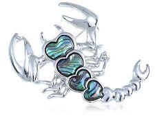 New Silver Tone Abalone Shell Crawling Heart Bodied Scorpion Fashion Pin Brooch
