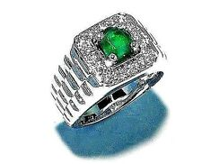 New Design Fashin925 Sterling Silver Fine Quality Emerald & CZ Exclusive Ring