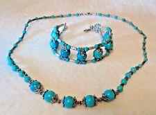 Spider Turquoise & Tibetan Silver Necklace/Bracelet Set