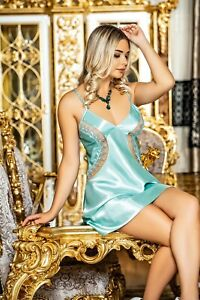 Women Satin and Lace Chemise  Babydoll  Short Nightdress with Thong    European