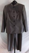 Valerie Stevens Petite Gray Blazer Jacket Pant Suit Size 8P Wool blend Mandarin