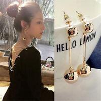 Fashion Women Bling Ball Earrings Long Chain Drop Dangle Earrings Jewelry Gift