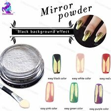 GOLD Mirror Powder White Chrome Effect Nail Powder Gel Polish Pigment (m)