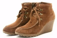 M.I.A. MIA Womens Boots Size 11 Brown Suede Platform Dress Booties Lace Zip Up