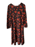 Dorothy Perkins black Red Flowers dress Size 18 Long Sleeve Fit & Flare