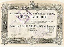 Dépt 42 & 43 - Superbe Action C D F d'intérêt Local de Loire & Haute-Loire  1875
