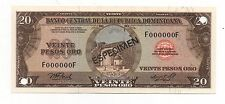 DOMINICAN REPUBLIC 20 PESOS ORO 1975 PICK 111 SPECIMEN UNC