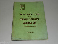 Ersatzteilliste Ersatzteilkatalog Zündapp Motorrad 200S 200 S, Stand 01/1957