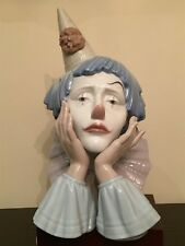 """LLADRO 5129 Clown Jester Head Authentic Porcelain Figurine 13"""" with Base Perfect"""