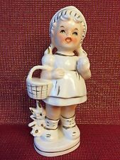 Napco Originals Fine China Girl Basket Figurine White Gold Green Eyes Vintage