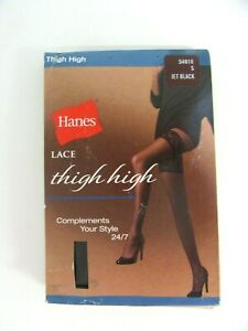 Hanes Lace Thigh High 54018 Small Jet Black