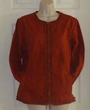 New Chicos Size 8-10 Cotton Zipper Front Rust Color Women's Jacket