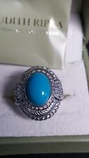 NEW IN BOX JUDITH RIPKA STERLING SILVER TURQUOISE & DMQ? CZ? RING, SZ 7
