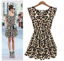 Women's Summer Leopard Print Dress - Size S/M