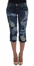 NEW DOLCE & GABBANA Shorts Jeans Stretch Blue Patchwork Pants IT38 /US4 /XS