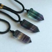 Healing Chakra Stone Reiki Pendant Necklace Crystal Quartz Natural Fluorite Wand