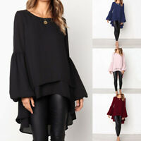 Womens Long Sleeve Double Layer Shirt Tops Ladies Asymmetrical Loose Long Blouse